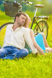 Portrait of Nice Caucasian Couple Relaxing Together Outdoors wit Royalty Free Stock Photography