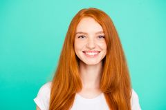 Portrait nice cheerful positive cute bright vivid shiny red stra stock images