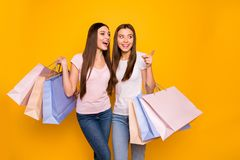 Portrait of nice cute charming feminine attractive cheerful straight-haired girls embracing holding in hands carrying. New cool purchase isolated on bright stock image