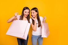 Portrait of nice cute charming lovely winsome sweet attractive cheerful feminine slim fit thin straight-haired girls. Holding in hands new cool purchase stock photos