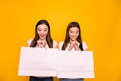 Portrait of nice cute charming lovely winsome sweet tender attractive cheerful cheery straight-haired girls holding in. Hands new cool purchase isolated on royalty free stock photo
