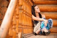 Portrait of nice dark-haired girl Stock Photos