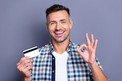 Portrait of nice excited guy have promo advertise he his choose choice decide decision recommend wear checkered shirt stock image