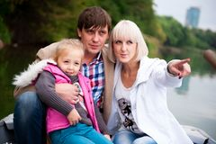 Portrait of a nice family on the boat. royalty free stock image