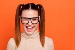Portrait nice funny funky cute lady millennial person satisfied skilled confident cool dream dreamy can do all expert royalty free stock image