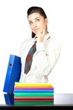 Portrait of a nice girl with office folders Stock Photography