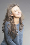 Portrait of Nice and Happy Brunette Woman Smiling Stock Photos