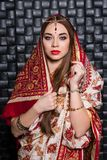 Portrait of nice Indian woman stock images