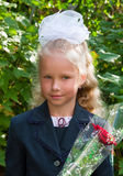 Portrait of nice little schoolgirl Royalty Free Stock Image