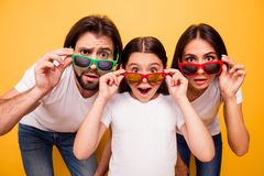 Portrait of nice lovely attractive cheerful amazed people having fun day wearing colorful modern eyewear omg gesture royalty free stock photography