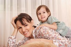 Portrait of a nice mom and daughter Royalty Free Stock Image