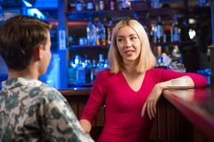 Portrait of a nice woman at the bar Royalty Free Stock Images