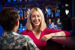 Portrait of a nice woman at the bar Royalty Free Stock Photography