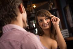 Portrait of a nice woman at the bar Stock Photo