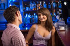 Portrait of a nice woman at the bar Stock Photography