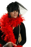 Portrait of nice woman in black veil. And red velvet Royalty Free Stock Photography