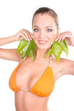 Portrait of a nice woman with leaf Royalty Free Stock Photography
