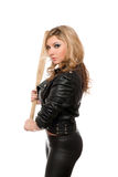 Portrait of nice young blonde with a bat Stock Photography