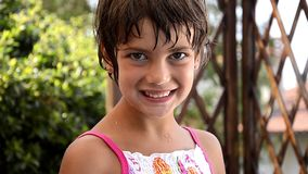 Portrait of a nice young girl stock video footage