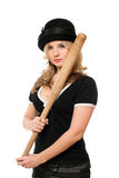 Portrait of nice young lady with a bat Stock Photos