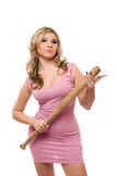 Portrait of nice young woman with a bat Stock Photos