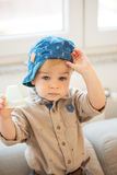 Portrait of nicely dressed little boy. With blue eyes Royalty Free Stock Photos