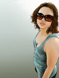 Portrait No.2. A painted portrait of a freckled young woman wearing sunglasses Royalty Free Stock Photos