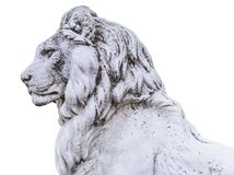 Portrait of a noble and regal male lion stone statue in a stately home garden in England, UK royalty free stock photo