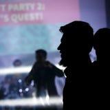 Portrait noir de silhouette de jeune homme barbu Photos libres de droits