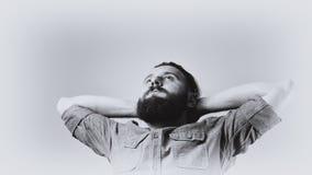 Portrait noir et blanc d'un homme barbu Photo libre de droits