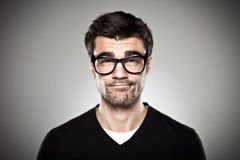 Portrait of a normal boy with rimmed glasses Royalty Free Stock Images