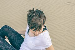 Portrait of a normal girl on the beach royalty free stock image