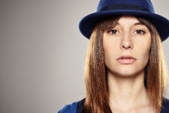 Portrait of a normal girl with blue hat Stock Photos