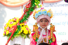 Portrait of novice in Poy-Sang-Long Festival in Northern of Thai stock photo
