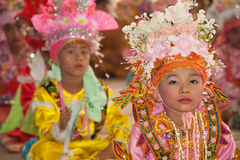 Portrait of novice in Poy-Sang-Long Festival in Northern of Thai Royalty Free Stock Photography