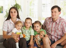 Portrait of nuclear family at home Royalty Free Stock Photos