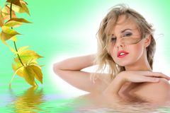 Portrait of the nude blonde royalty free stock images