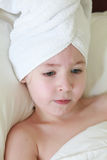 Portrait of Nude Girl Wearing White Towel on Head after Bathing Stock Photos