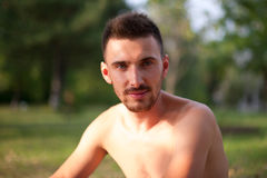 Portrait of a nude male. Stock Photo