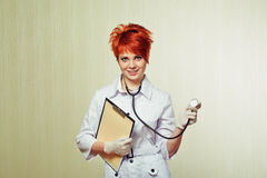 Portrait of nurse with medical equipment Stock Photo