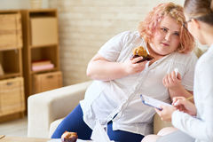 Obese Woman with  Eating Disorder Stock Images