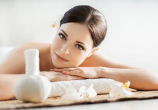 Portrait od a woman on a spa procedure Royalty Free Stock Photos