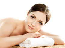 Portrait od a woman on a spa procedure Royalty Free Stock Images