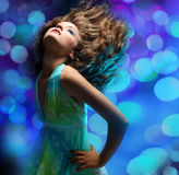 Portrait Of A Beautiful Dancing Girl Stock Photos
