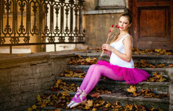 Portrait Of A Beautiful Very Cute Pregnant Girl In Ballet Pink T Royalty Free Stock Image