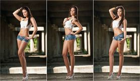 Portrait Of A Beautiful Woman With Denim Shorts And White Cropped T-shirt In Urban Background. Attractive Brunette Posing Royalty Free Stock Photo