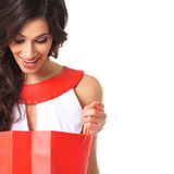 Portrait Of A Brunette Holding A Shopping Bag Royalty Free Stock Photo