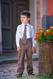 Portrait Of A Cute Little Boy Outdoors In City Royalty Free Stock Photos
