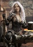 Portrait Of A Fantasy Warrior Dark Elf Female With White Hair,relaxing In A Medieval Tavern With Ale After A Long Journey. Stock Image