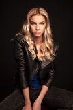 Portrait Of A Fashion Biker Woman In Leather Jacket Royalty Free Stock Images